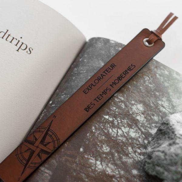 EDGAR-EXPLORE- Marque page en cuir